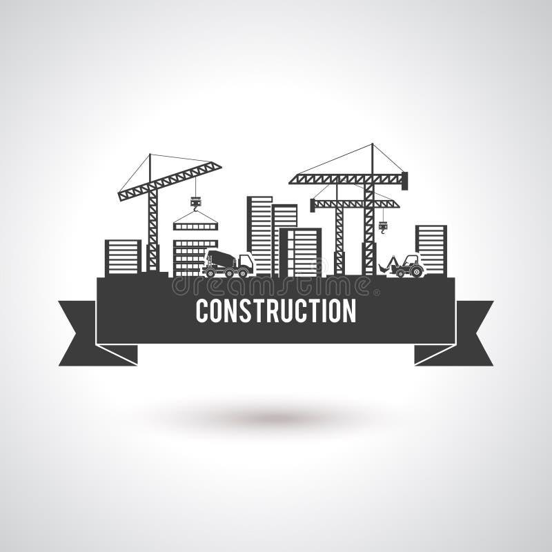 Affisch för byggnadskonstruktion royaltyfri illustrationer