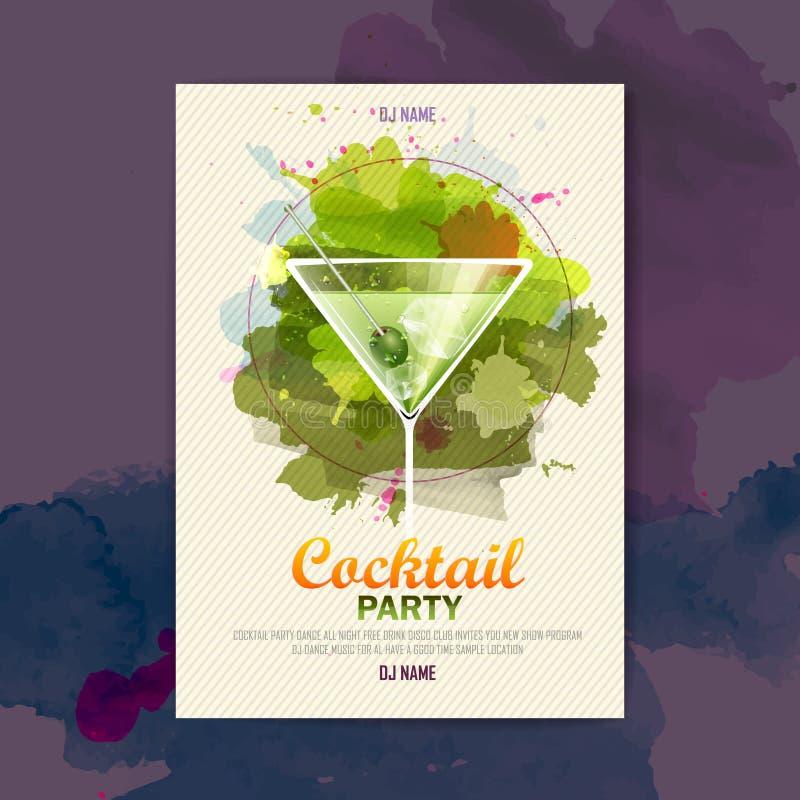 Affisch för coctailvattenfärgdisko royaltyfri illustrationer