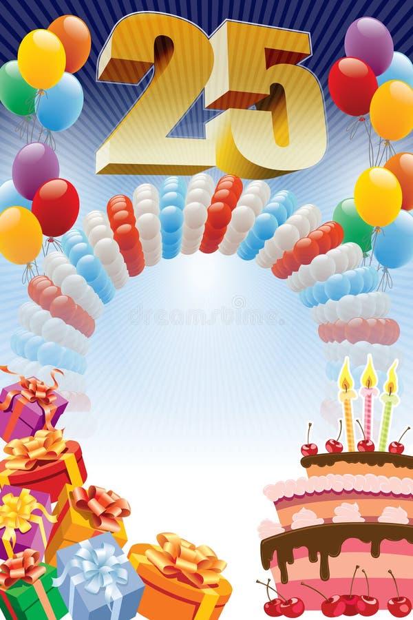 Affisch för denfemte födelsedagen royaltyfri illustrationer