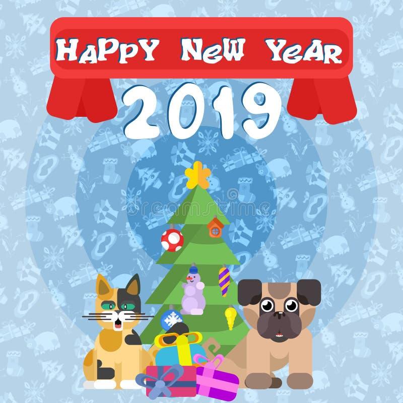 Affisch för det nya året katt med en hund nära trädet för nytt år stock illustrationer