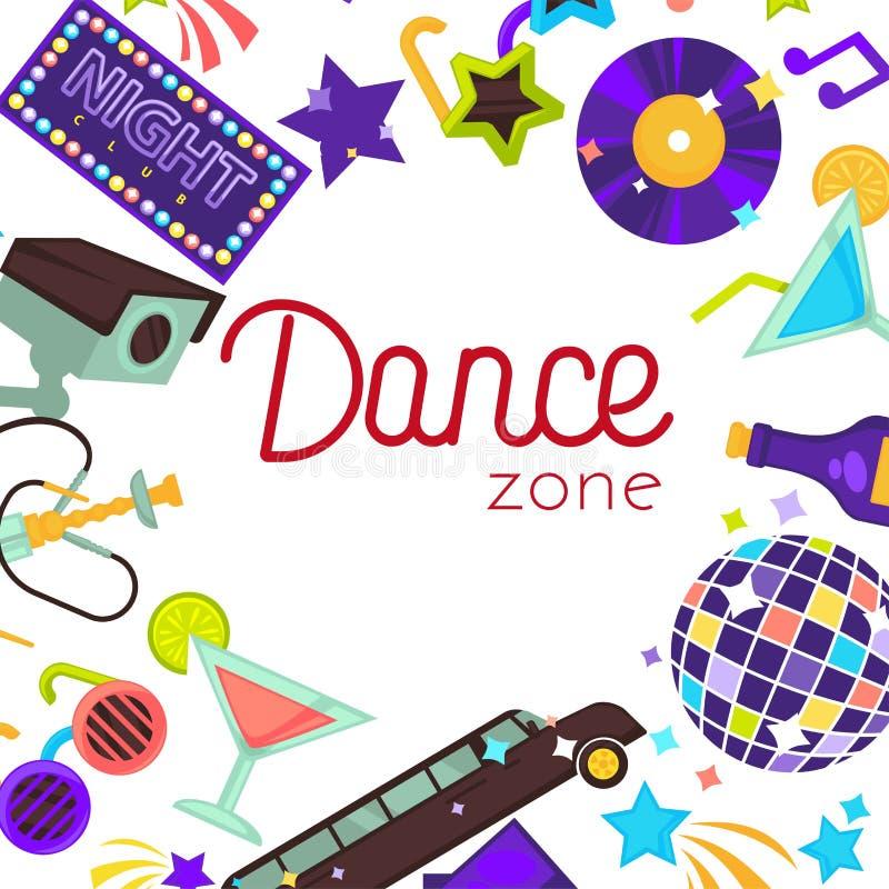 Affisch för disko för vektor för danszonnattklubb stock illustrationer