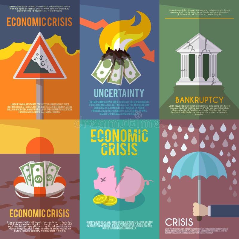 Affisch för ekonomisk kris vektor illustrationer