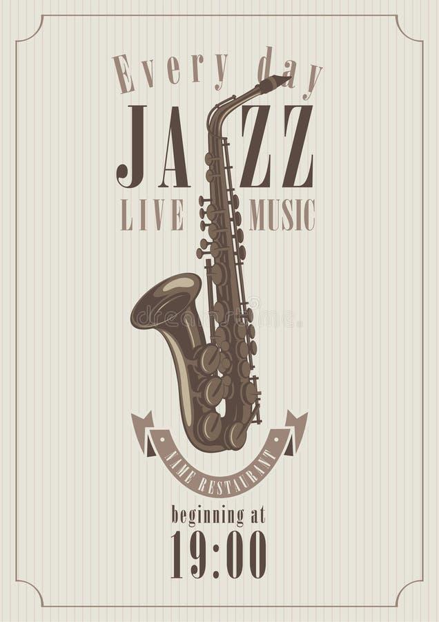 Affisch för en jazz vektor illustrationer