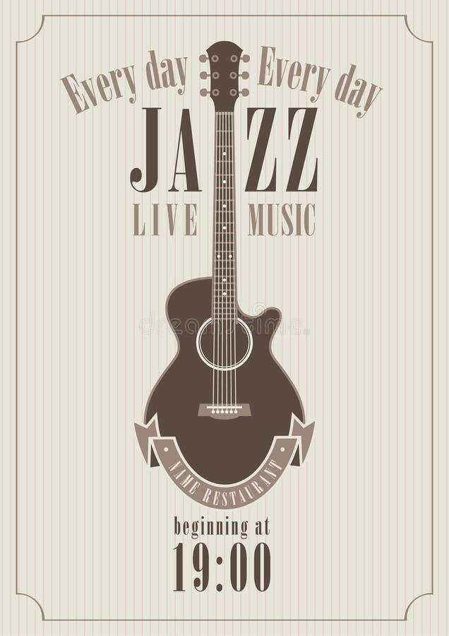 Affisch för en jazz royaltyfri illustrationer