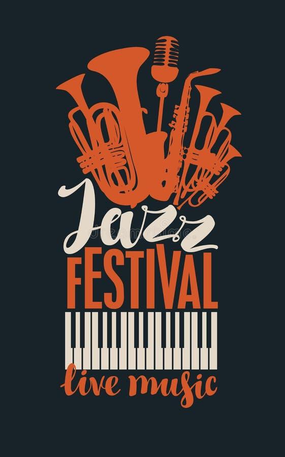Affisch för en jazzfestival av levande musik vektor illustrationer