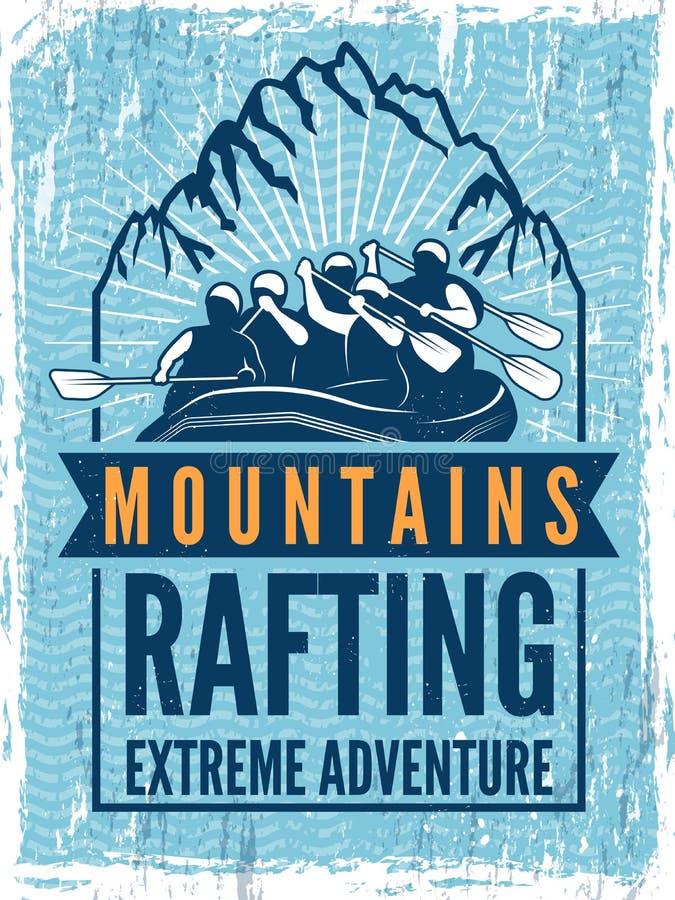 Affisch för extrem sportklubba Monokrom illustration av rafting Kanot eller kajak på havet royaltyfri illustrationer