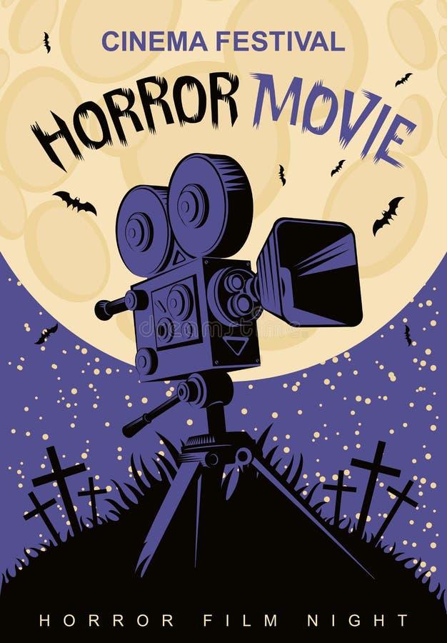 Affisch för festival för fasafilm, läskig bio stock illustrationer