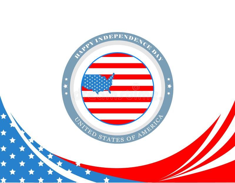 Affisch för fjärdedel av Juli, självständighetsdagen av Amerikas förenta stater USA-flagga och översikt i cirkeln och USA översik stock illustrationer