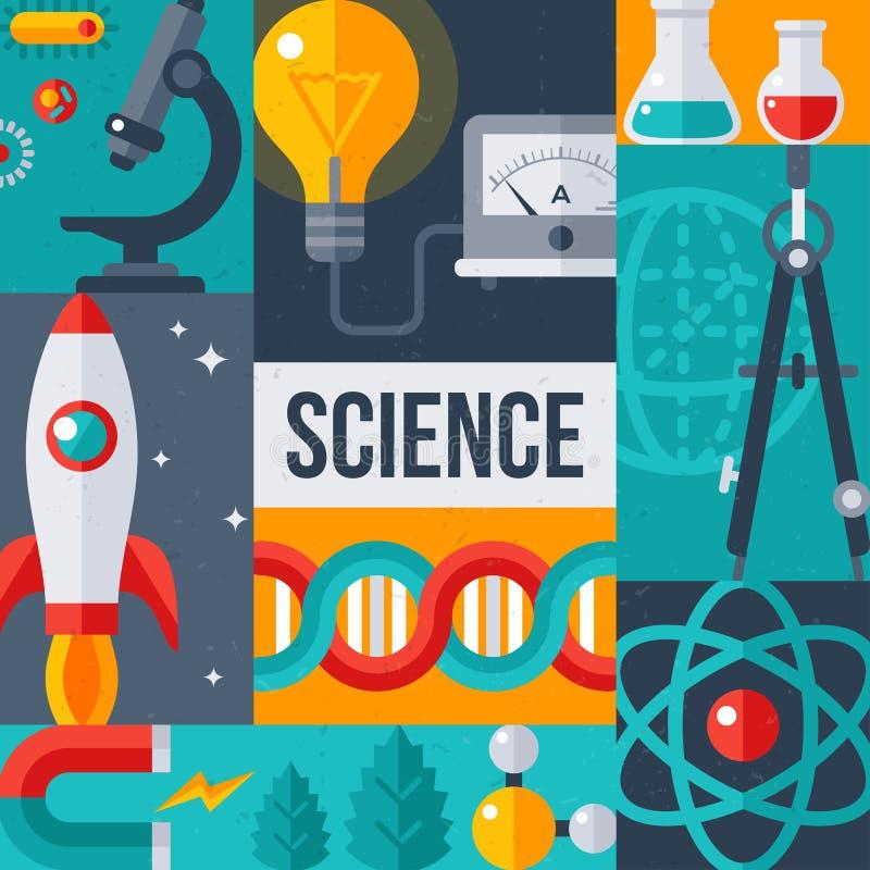 Affisch för forskning för vetenskapslaboratorium idérik stock illustrationer