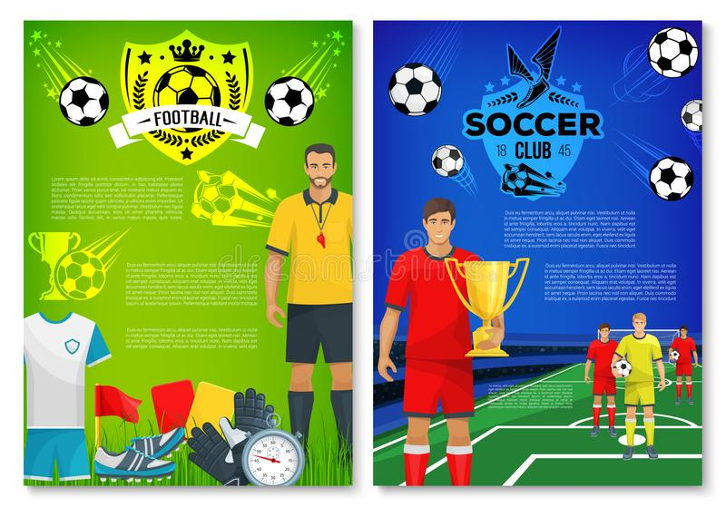 Affisch för fotbollsportklubba med beståndsdelar royaltyfri illustrationer