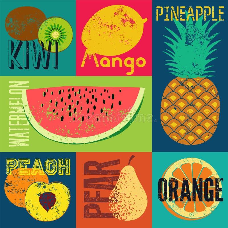 Affisch för frukt för stil för grunge för popkonst Samling av retro frukter Tappningvektoruppsättning av frukter royaltyfri illustrationer
