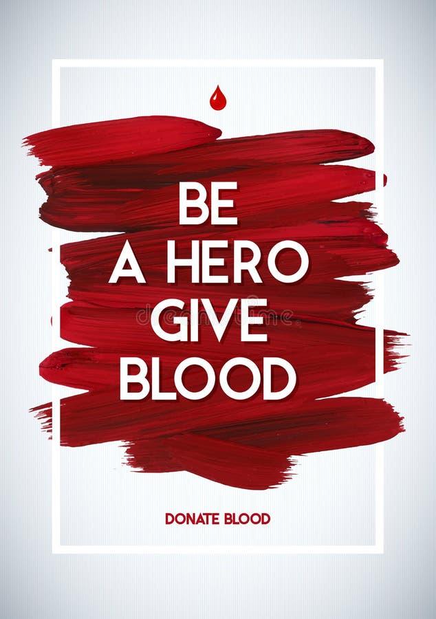 Affisch för givare för information om blodgivaremotivation läkarundersökning för bakgrundsbloddonation Baner för världsblodgivare stock illustrationer