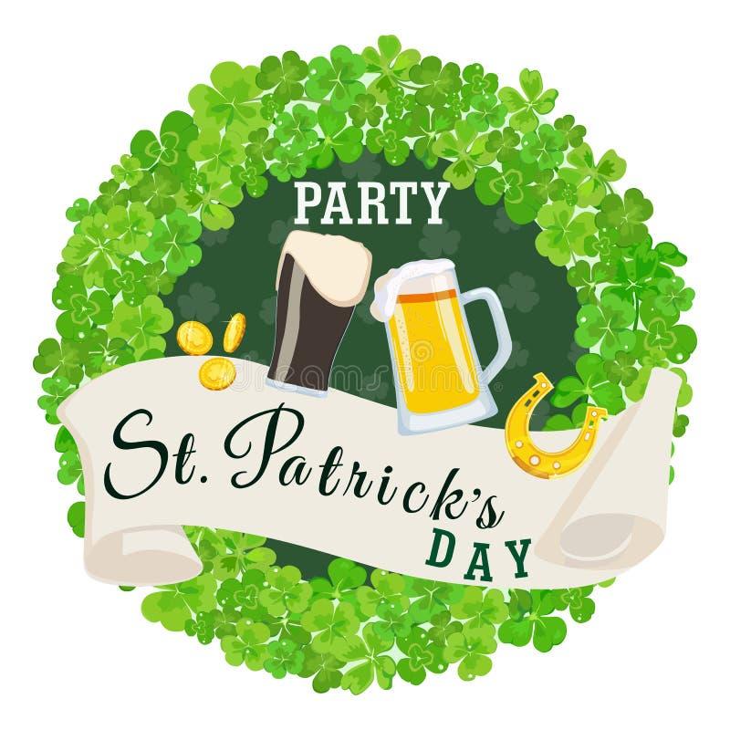 Affisch för gräsplan för parti för dag för St Patrick ` s också vektor för coreldrawillustration stock illustrationer