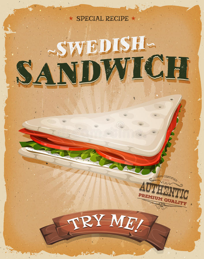 Affisch för grunge- och tappningsvensksmörgås stock illustrationer
