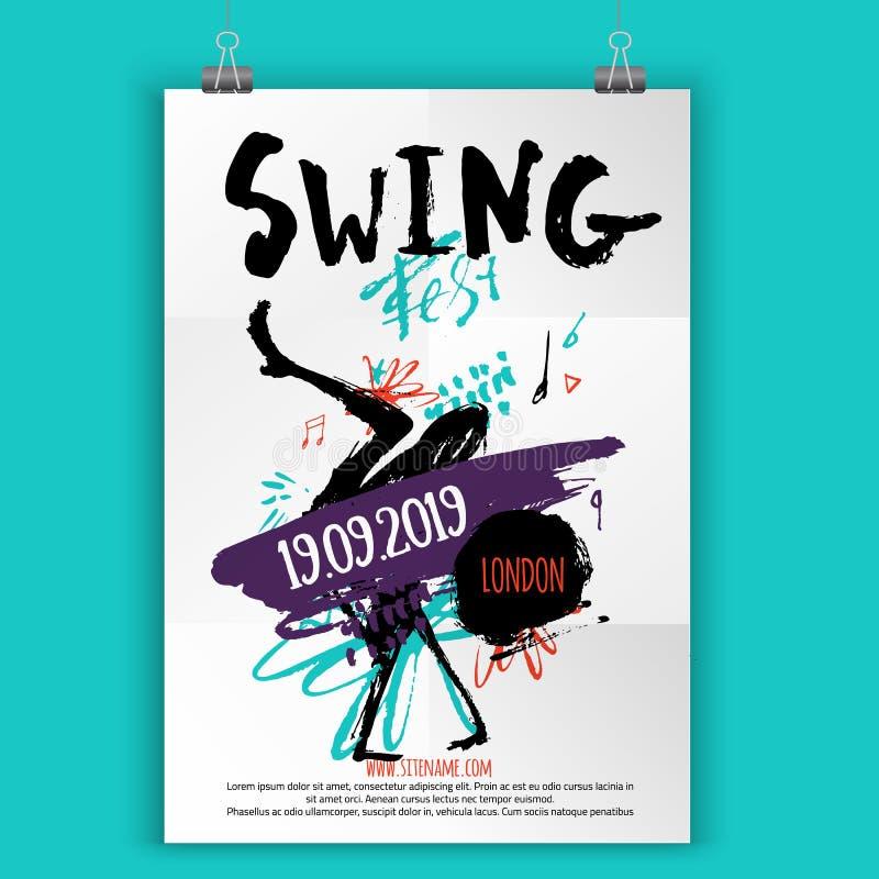 Affisch för gungadansparti med grungefläckar, linjer och moderna former Musikhändelsereklamblad stock illustrationer