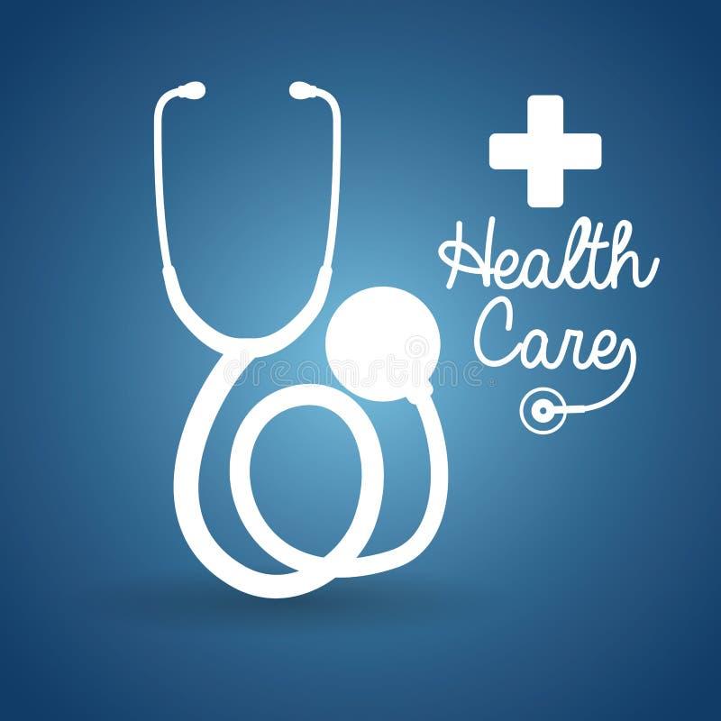 affisch för hälsovårdstetoskopkors royaltyfri illustrationer