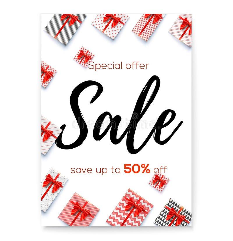 Affisch för händelser av försäljningen, prisförminskning Femtio procent rabatt Handskriven bokstäver för borstepenna Bästa sikt p vektor illustrationer