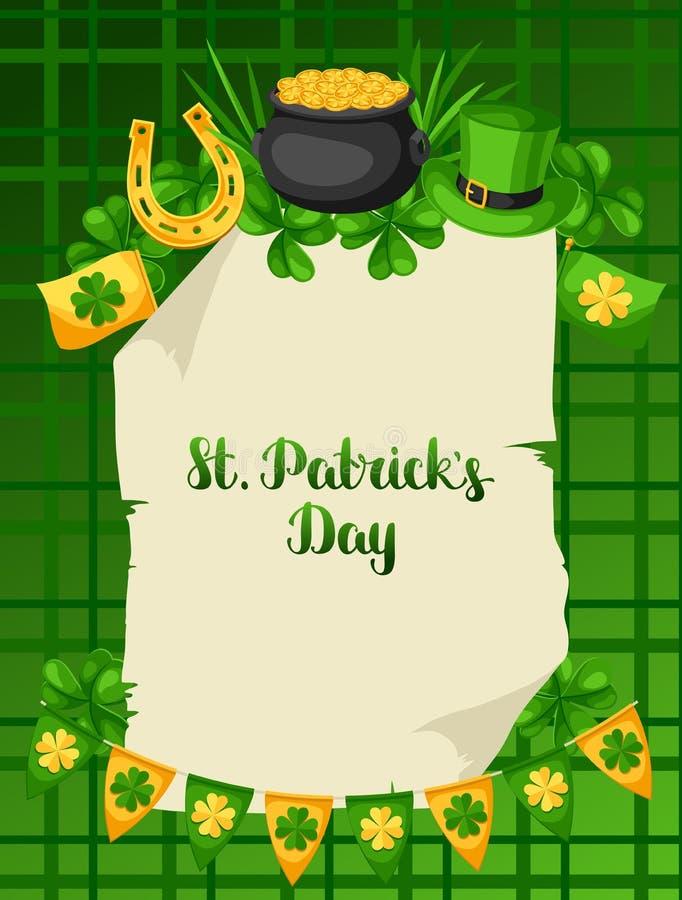 Affisch för helgonPatricks dag Sjunka, krukan av guld- mynt, treklöverer, den gröna hatten och hästskon vektor illustrationer