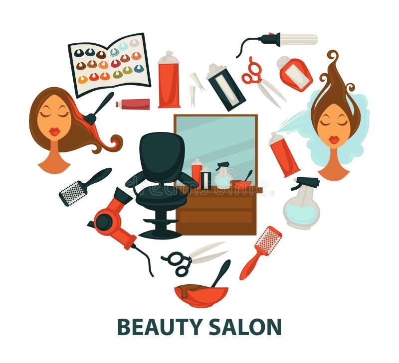 Affisch för hjärta för mottagningsrum för frisör för vektor för hårskönhetsalong av frisering och färgautrustning vektor illustrationer