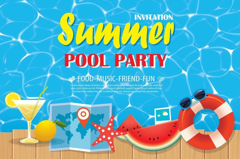 Affisch för inbjudan för pölparti med blått vatten och trä vektor vektor illustrationer