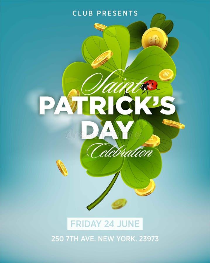 Affisch för inbjudan för parti för öl för St Patrick s daggräsplan royaltyfri illustrationer