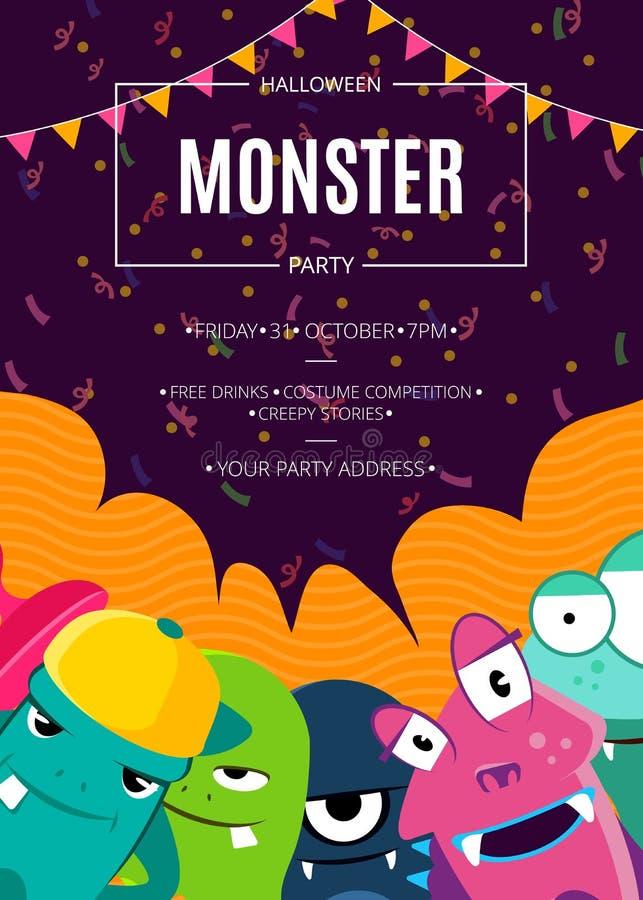 Affisch för inbjudan för vektorallhelgonaaftonparti med folkmassan av gulliga monster, konfettier och girlander vektor illustrationer