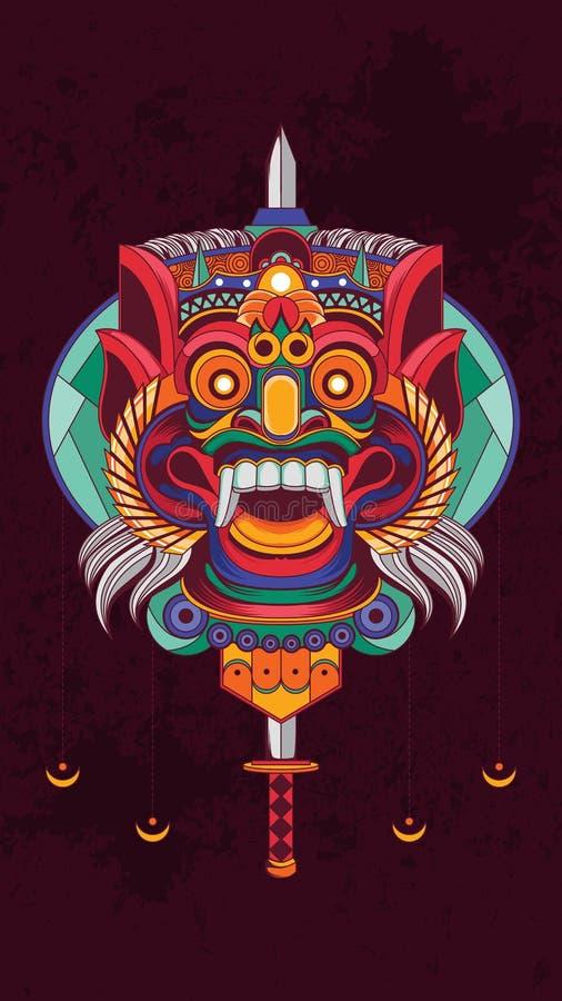 Affisch för indonesBarong kultur royaltyfri illustrationer