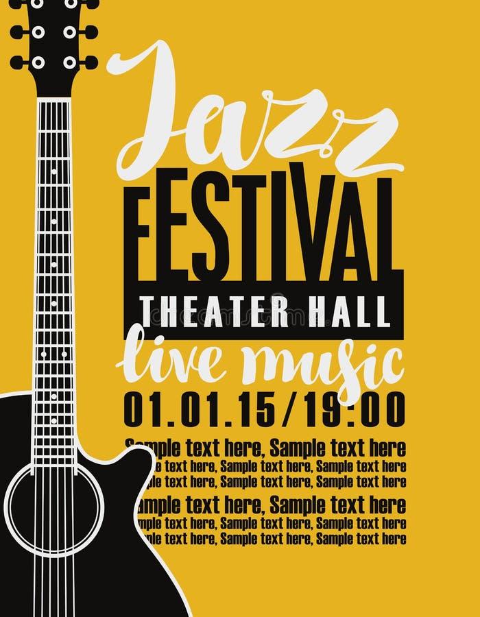 Affisch för jazzfestival med en gitarr royaltyfri illustrationer