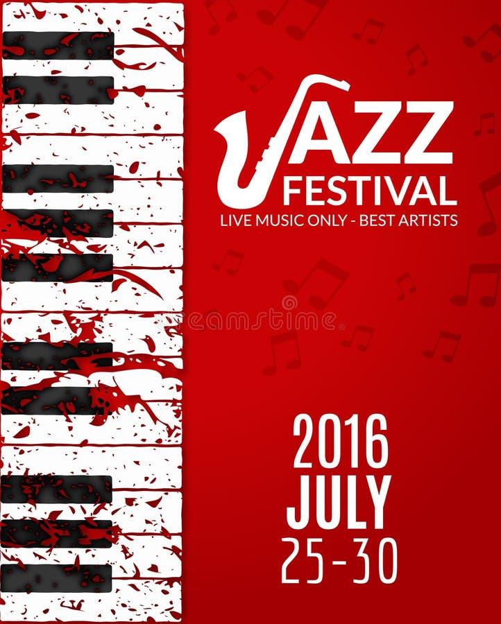 Affisch för jazzfestival med en saxofon Musikalisk reklambladdesignmall vektor illustrationer