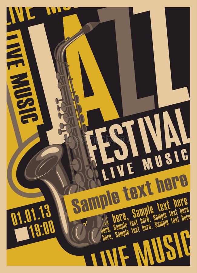Affisch för jazzfestivalen royaltyfri illustrationer