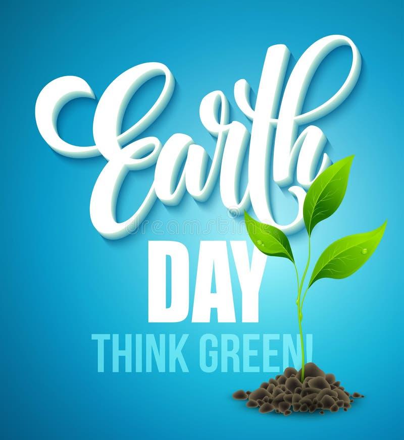 Affisch för jorddag Vektorillustration med bokstäver för jorddag, planeterna och gräsplansidorna stock illustrationer