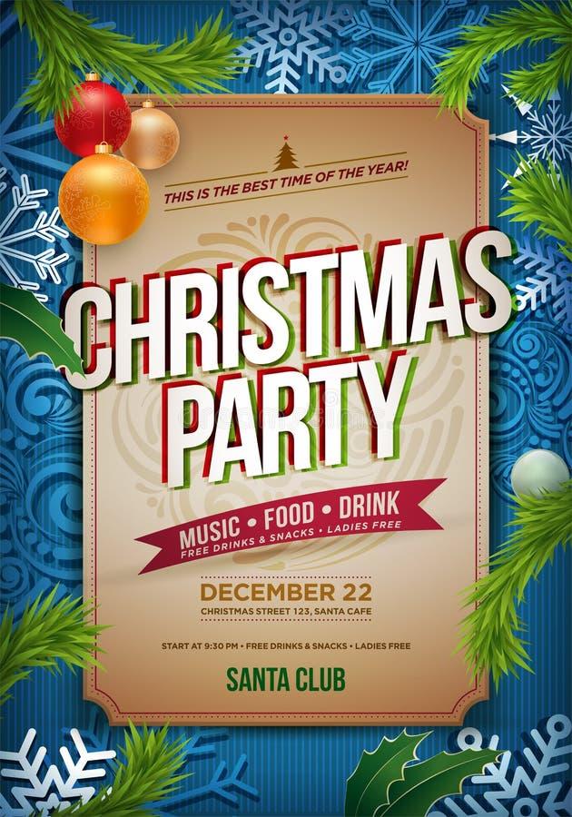 Affisch för julparti stock illustrationer