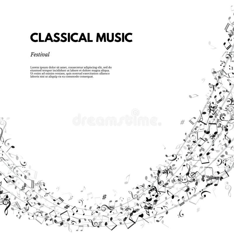 Affisch för klassisk musikfestival eller banermall Text för vektorklassisk musikfestival på notsystembakgrund stock illustrationer