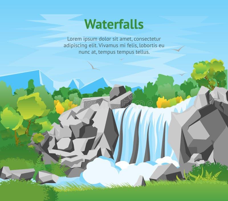 Affisch för kort för bakgrund för tecknad filmvattenfalllandskap vektor vektor illustrationer