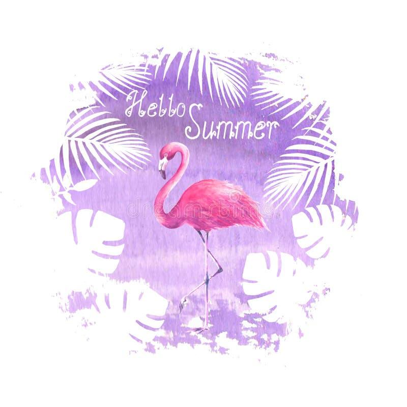 Affisch för lilor för flamingo för Hello sommarbokstäver royaltyfri illustrationer