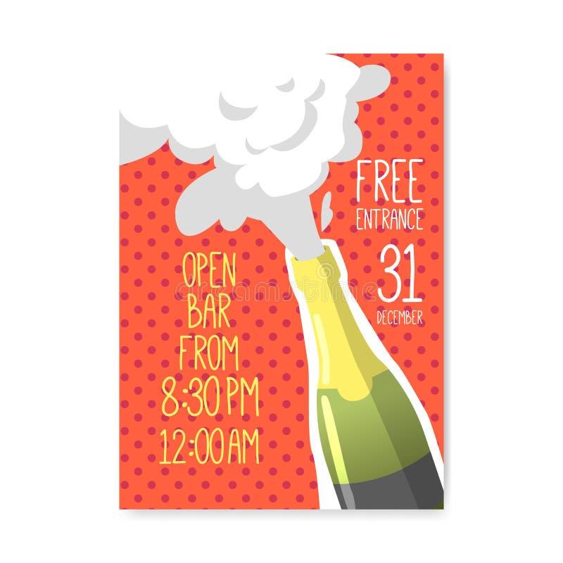 Affisch 2019 för lyckligt nytt år Hälsningkort, plakat, inbjudanmall med flaskan av Champagne royaltyfri illustrationer