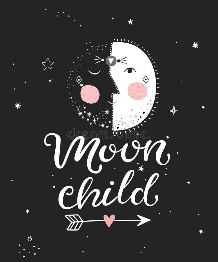 Affisch för månebarn vektor illustrationer