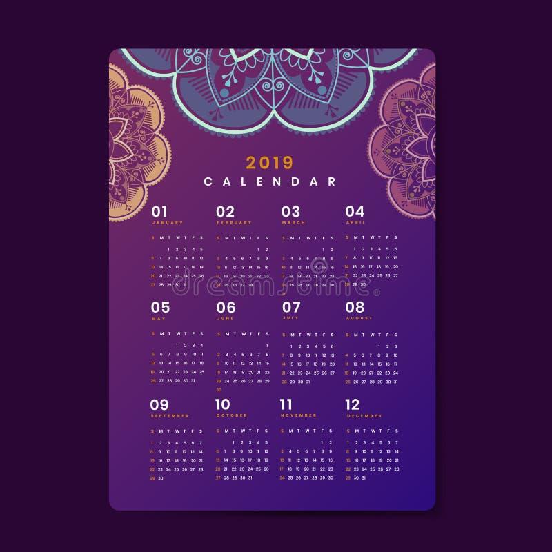 Affisch 2019 för Mandalakalendervektor stock illustrationer