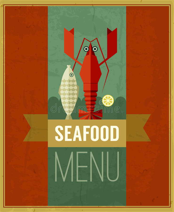 Affisch för meny för vektortappning havs- med fisken, humret och citronen royaltyfri illustrationer