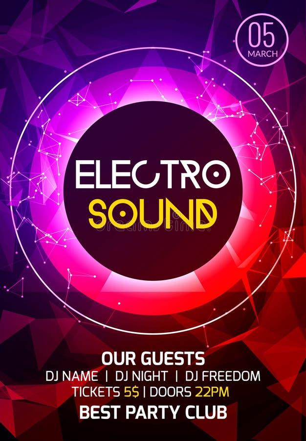 Affisch för musik för Electroljudparti Djup musik för elektronisk klubba Musikaliskt ljud för händelsediskotrans Nattpartiinbjuda vektor illustrationer