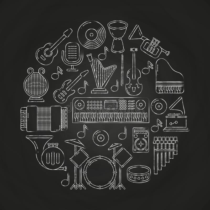 Affisch för musik för vektor för kritateckning med musikinstrument på svart tavla royaltyfri illustrationer