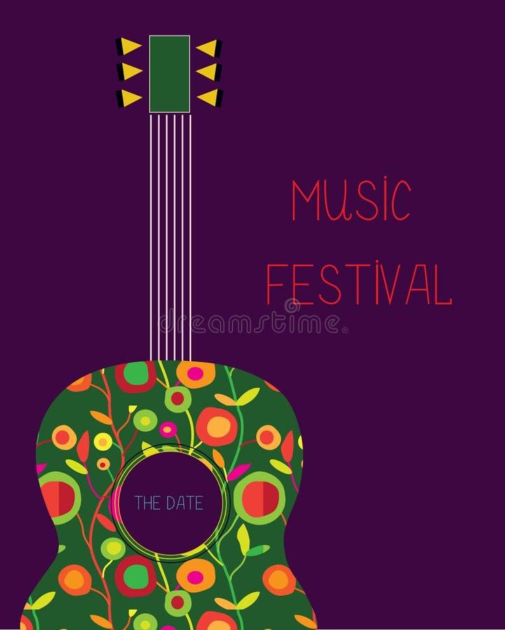 Affisch för musikfestival med gitarren royaltyfri illustrationer