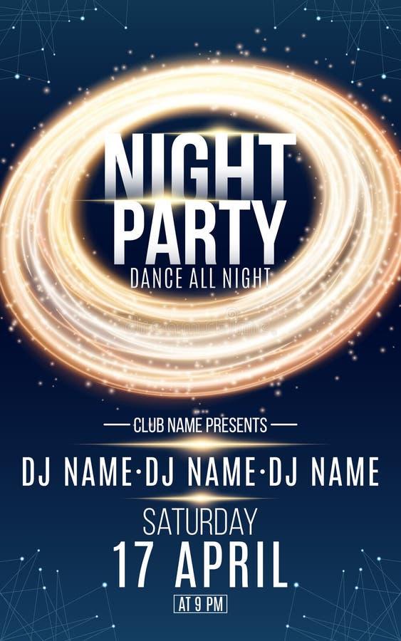 Affisch för nattdansparti Runt baner för guld av virvlande runt linjer för lysande neon Namn av klubban och discjockeyn kopiera v royaltyfri illustrationer