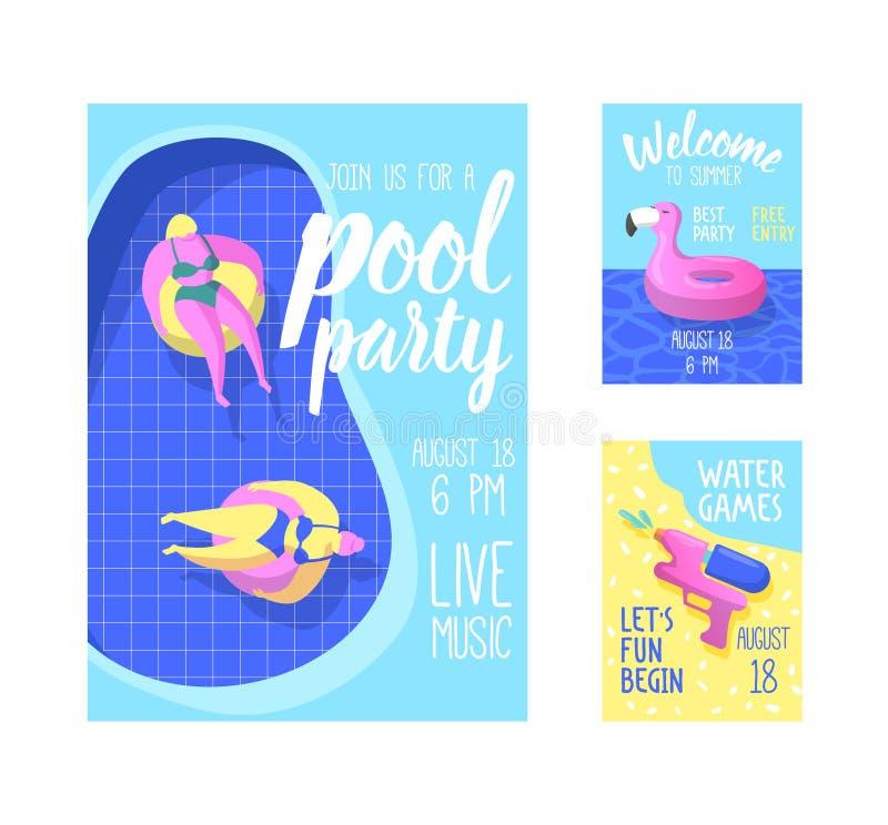 Affisch för pölparti, baner, inbjudan Sommarbroschyr med den uppblåsbara rosa flamingo, flöten i vatten Reklambladstrandparti vektor illustrationer