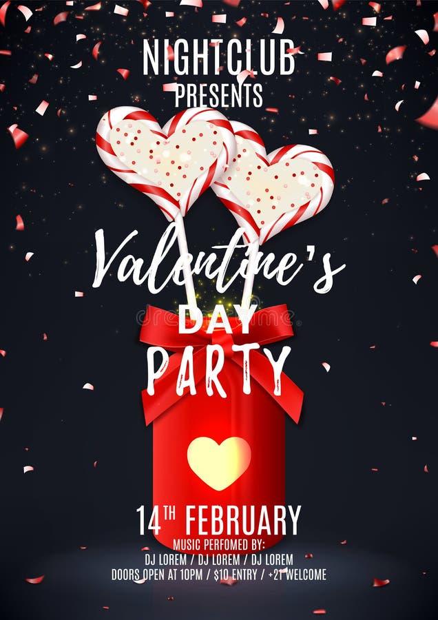 Affisch för parti för dag för valentin` s stock illustrationer