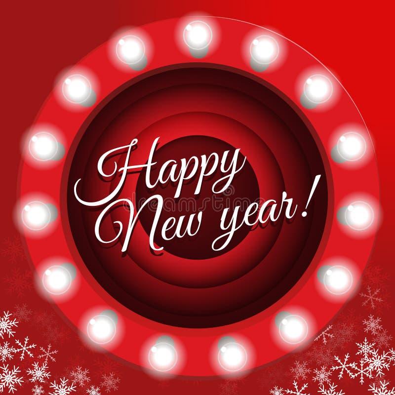 Affisch för ` s för nytt år i retro stil Sinande skärmbakgrund för film, illustration Baner för nytt år med ljusa kulor, stock illustrationer