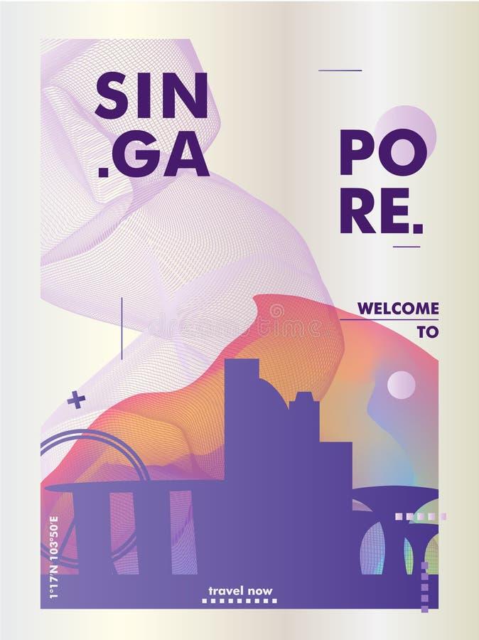 Affisch för Singapore horisontlutning royaltyfri illustrationer