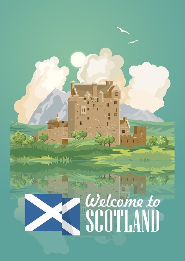 Affisch för Skottland loppvektor i modern ljus design Skotska landskap royaltyfri illustrationer