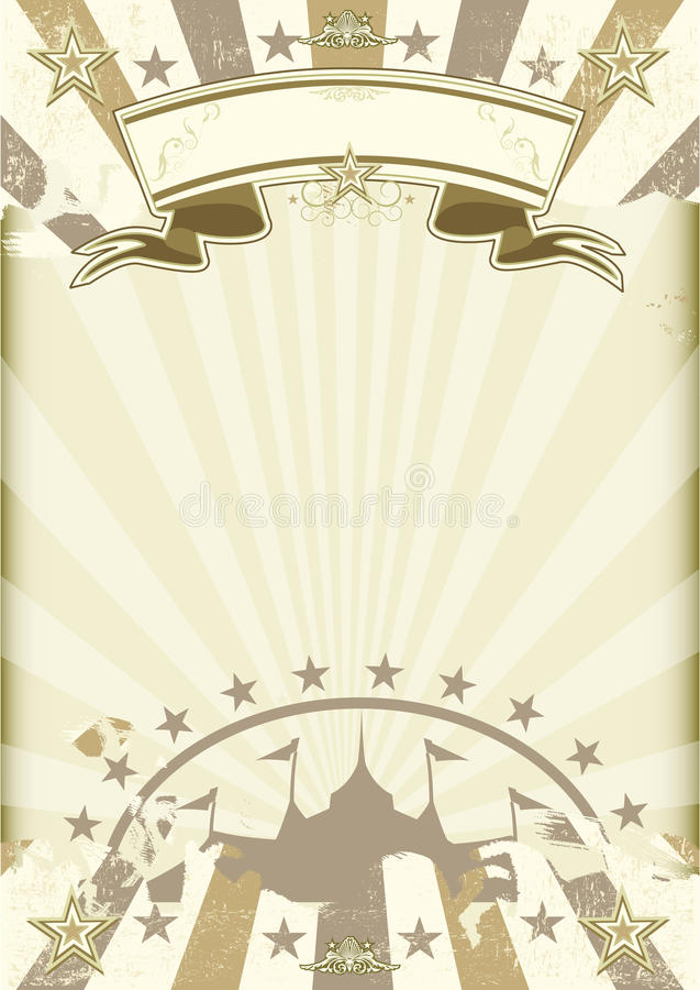 Affisch för solstrålar för cirkus för Kraft papper royaltyfri illustrationer