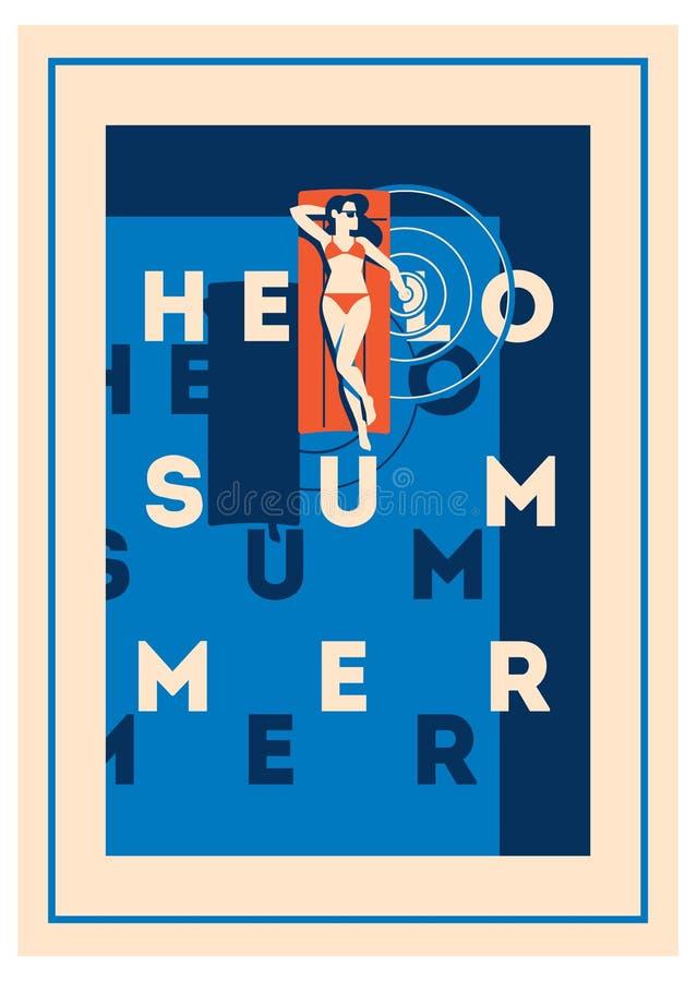 Affisch för sommarferie och koloni stock illustrationer